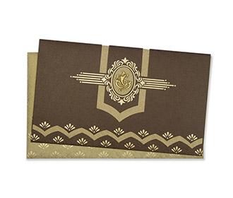 Traditional Ganesha Indian wedding card in brown & golden
