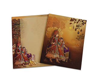 Traditional hindu wedding invite in brown with marriage ritual images -