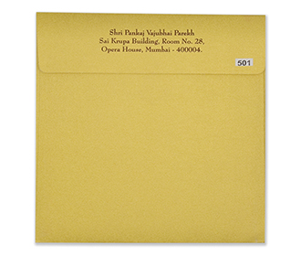 Traditional hindu yellow golden wedding invitation card