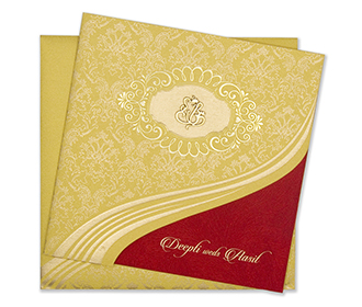 Traditional hindu yellow golden wedding invitation card -