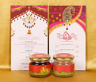 Traditional Indian box invite with Dulha Dulhan & baraat design