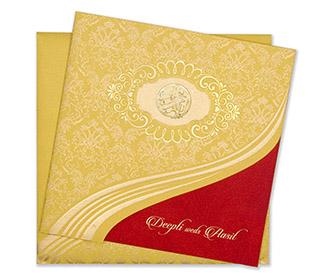 Traditional muslim yellow golden wedding invitation card -