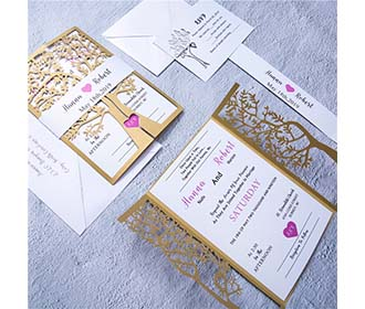 Tree of life theme golden laser cut christian wedding invitation