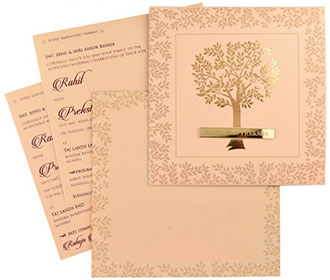 Tree of life theme indian wedding card in peach colour