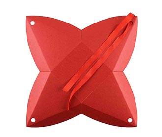 Triangular Wedding Party Favor Box in Red Color