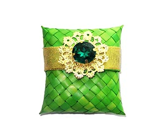 Weaved Green broached Gift Pouch -