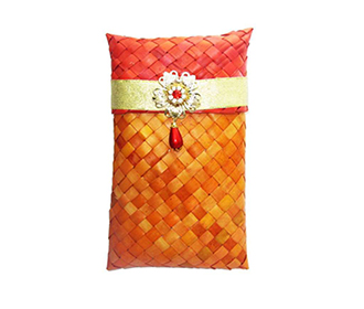 Weaved Pink & Orange Gift Pouch -