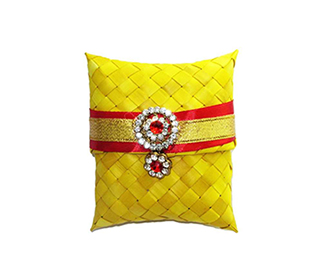 Weaved Yellow Gift pouch -