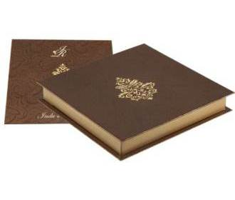 Wedding Card Box Elegant Golden and Brown Colour
