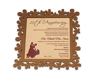 Wedding anniversary invitation in laser cut cardboard