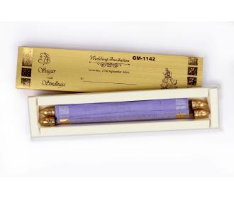 Exquisite Scroll Invitation in Purple color tissue material