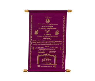 Designer Scroll Card in Purple Satin with Floral Designs