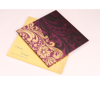 Wedding Invitation in Purple Satin with Floral Patterns