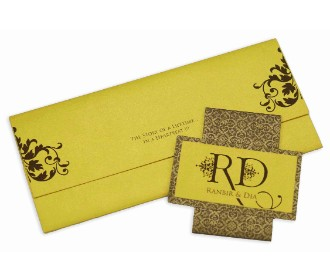 Yellow and brown invitation with multicolored inserts