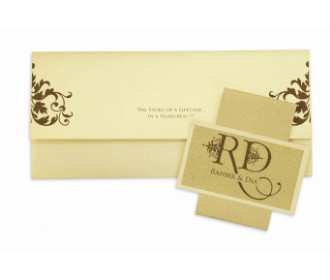 Wedding Invitation in Ivory with multicolour inserts -