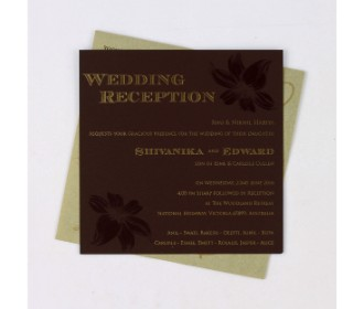 Cream and brown invitation card with floral design