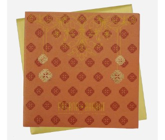Traditional orange with golden invitation card
