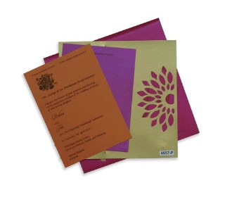 Wedding card in pink with vibrant colours and a cut out motif