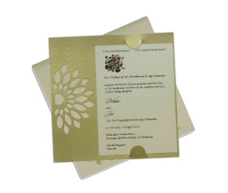 Wedding card in cream & golden with a cut out motif