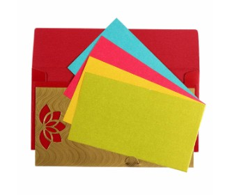 Red and Golden card with multicolored inserts