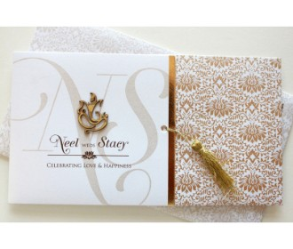 White and brown card with floral print