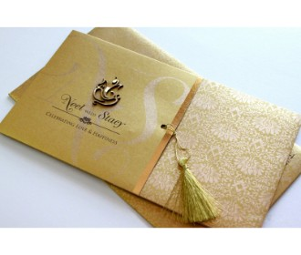 Traditional Golden colour Card with laser cut Ganesha