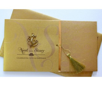 Traditional Golden colour Card with laser cut Ganesha -