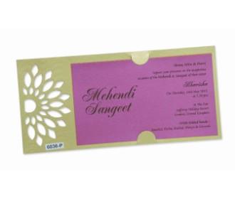Royal pink invite with designer cutwork insert holder