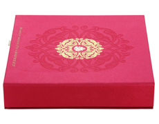 Wedding Card Box in Exquisite Pink & Antique Golden Color