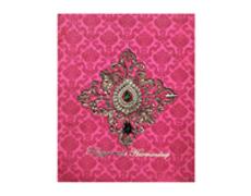 Wedding Card Box in Fuchsia coloured Brooch design