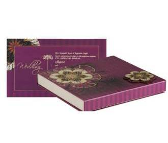 Wedding Card Box in Purple & Golden Floral Colour