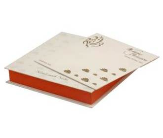 Wedding Card Box with White, Orange & Golden Lotus Design