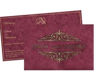 Wedding Invitation in exquisite Violet and Golden Colour