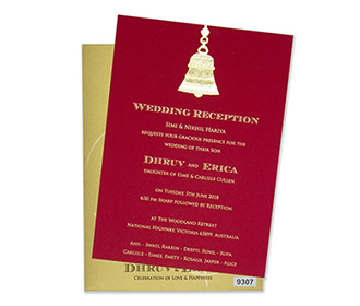 Wedding card in golden & red with a pull out insert & temple bell design