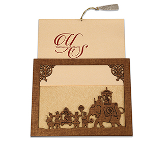 Wedding card in laser cut photo frame style with a baraat design