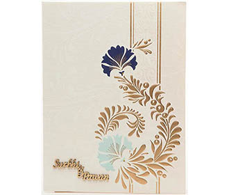 Wedding Card in White and Golden with Multi-color Floral Pattern