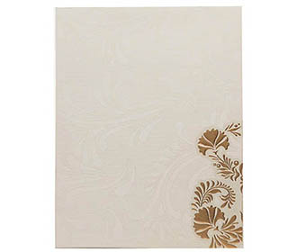 Wedding Card in White & Golden with Multi-color Floral Patterns