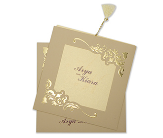 Wedding card with a decorated square frame in biscuit colour