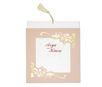 Wedding card with a decorated square frame in dusty pink colour