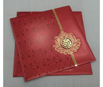 Red and Golden invite with laser cut Ganesha