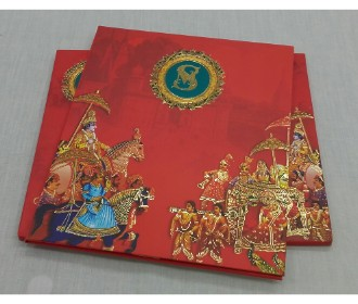 Traditional wedding invite in red