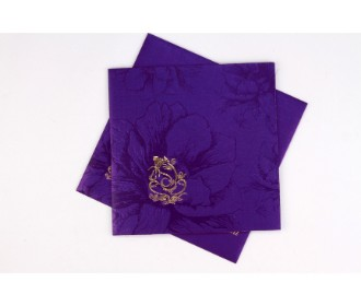 Beautiful purple invite with Floral design and Ganesha