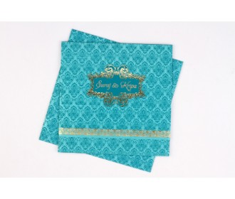 Wedding card in Blue & golden with multicolour inserts -