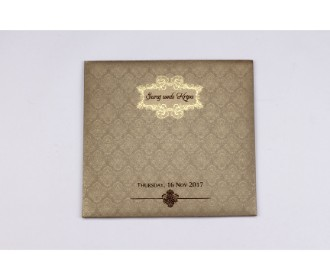 Wedding Card in light brown colour with floral motifs