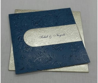Blue and silver wedding invitation with Floral design