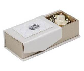 Wedding Favor Shagun Box in White and Golden with Rose Design