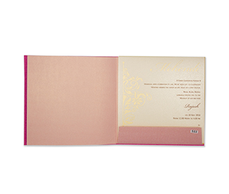 Wedding invitation card in vibrant pink with cut out design