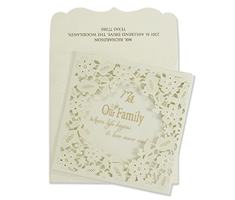 Wedding invitation card with a laser cut out floral pocket
