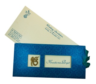 Wedding Invitation in Blue with Pull out insert & Ek Onkar