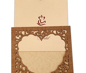Wedding invitation in laser cut photo frame style with a heart design